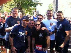 DC Perritt, FF Vergo, PFF Collins, FF Palmesi, FF Esterly, Chief Rush, FF Musorrafiti at the start of the Tunnels to Towers Run
